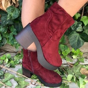 Suede Wine Chunky Stacked Heel Bootie Almond Toe